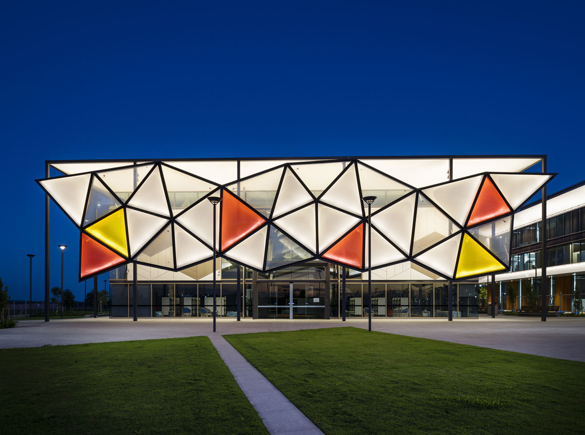 Architectural photography of exterior facade of the new Oran Park Library and community Resource Centre